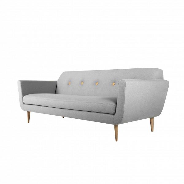 Диван OttoТрехместные<br>Дизайнерский комфортный тканевый диван Otto (Отто) на высоких деревянных ножках от Sits (Ситс).<br>         Трехместные диваны — это самый оптимальный вариант для большинства помещений, такие диваны не займут много места, и в то же время на нем смогут с удобством разместиться несколько человек. Такие диваны очень удобны в домашней обстановке, когда хочется освободить побольше пространства в комнате и сделать ее более уютной и приветливой.<br><br><br> Оригинальный диван Otto ширина 217 — это именно то...<br><br>stock: 0<br>Высота: 77<br>Высота сиденья: 43<br>Глубина: 88<br>Длина: 217<br>Цвет ножек: Беленый дуб<br>Материал обивки: Шерсть, Полиамид<br>Степень комфортности: Стандарт комфорт<br>Материал пуговиц: Кожа анилиновая<br>Цвет пуговиц: Желтый<br>Форма подлокотников: Стандарт<br>Коллекция ткани: Категория ткани III<br>Тип материала обивки: Ткань<br>Тип материала ножек: Дерево<br>Цвет обивки: Светло-серый