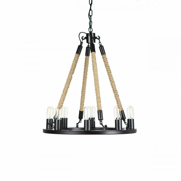 Подвесной светильник Bulb Candle 8 ламп диаметр 60Подвесные<br>Очевидно, что дизайнерВподвесного светильника Bulb Candle 8 ламп диаметр 60 не принадлежит робкому десятку. Яркий запоминающийся дизайн люстры нельзя отнести к чему-то незаурядному и скучному, напротив, такой светильник наверняка освежит любой современный интерьер. Дизайнер попытался совместить традиционный подвесной подсвечник и люстру в одном индустриальном и при этом современном дизайне. Результат ошеломителен — изделие получилось не только модным, но и совершенно не имеющим анало...<br><br>stock: 4<br>Длина: 60<br>Длина провода: 150<br>Количество ламп: 8<br>Материал абажура: Веревки<br>Материал арматуры: Металл<br>Мощность лампы: 40<br>Ламп в комплекте: Нет<br>Напряжение: 220<br>Тип лампы/цоколь: E27<br>Цвет абажура: Дерево<br>Цвет арматуры: Черно-серый<br>Цвет провода: Черный<br>Дизайнер: Kevin Reilly