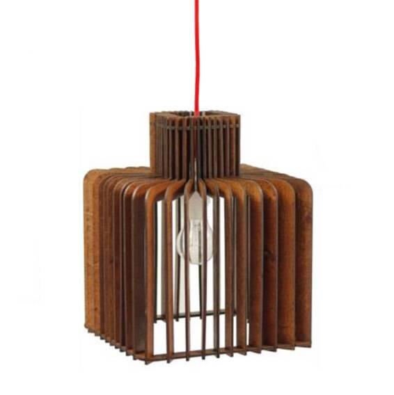 Rebranta Double CubeПодвесные<br>Статичный и основательный светильникВRebranta Double Cube внесет необходимую ясность в образ вашего пространства. Плотная структура продольных элементов плафона выглядит стильно и необычно в любое время суток:Вкак при включенном встроенном источнике света, так и при стороннем естественном освещении.<br><br>stock: 2<br>Высота: 30<br>Ширина: 24<br>Длина: 24<br>Длина провода: 180<br>Количество ламп: 1<br>Материал абажура: Фанера<br>Мощность лампы: 60<br>Ламп в комплекте: Нет<br>Напряжение: 220<br>Тип лампы/цоколь: E27<br>Цвет абажура: Красный<br>Цвет провода: Красный