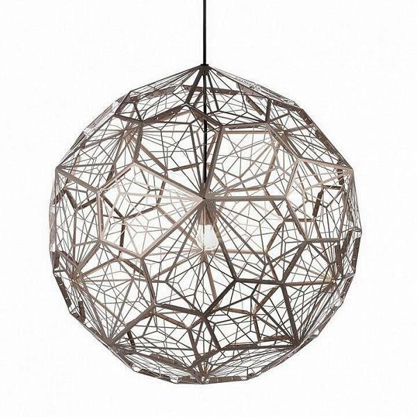Подвесной светильник Etch Web диаметр 65Подвесные<br>ETCH WEBВ— это лампа необычной открытой структуры сВбольшим абажуром размером 65Всм, отбрасывающая угловатые, острые тени. Экспериментальная структура лампы представляет собой пятиугольник неправильной формы, который повторяется 60 раз вокруг центральной оси, создавая общую сферу.<br><br><br> Лампа вВкаком-то смысле представляет собой еще один эксперимент дизайнера. Светильник ETCH WEB выполнен изВнержавеющей стали вВзолоте иВхроме.<br><br>stock: 0<br>Высота: 180<br>Диаметр: 65<br>Количество ламп: 1<br>Материал абажура: Нержавеющая сталь<br>Мощность лампы: 60<br>Ламп в комплекте: Нет<br>Напряжение: 220<br>Тип лампы/цоколь: E27<br>Цвет абажура: Металл<br>Дизайнер: Tom Dixon