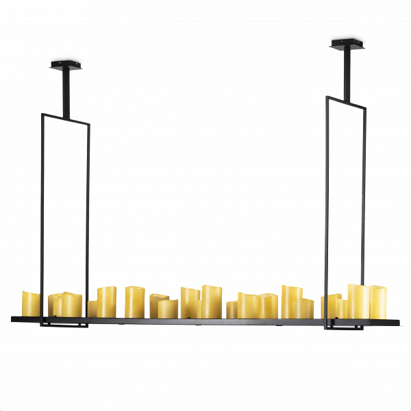 Потолочный светильник Altar 25 лампПотолочные<br>Дизайнерский потолочный светильник Altar 25 ламп выполнен из стали и представлен в классическом черном цвете. При его изготовлении были использованы только инновационные технологии, позволяющие гарантировать максимальную прочность и долговечность аксессуара.<br><br><br> Уникальность потолочного светильника Altar 25 ламп состоит в том, что на металлической подставке, подвешиваемой к потолку, стоят несколько свечей. Столь оригинальная и в тоже время гениальная идея пришла в голову дизайнеру Кеви...<br><br>stock: 0<br>Высота: 121<br>Ширина: 40<br>Длина: 180<br>Количество ламп: 25<br>Материал абажура: Полистоун<br>Материал арматуры: Сталь<br>Мощность лампы: 1<br>Ламп в комплекте: Нет<br>Напряжение: 220<br>Тип лампы/цоколь: LED<br>Цвет абажура: Черный<br>Дизайнер: Kevin Reilly