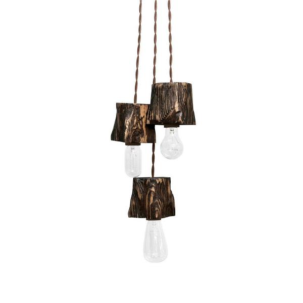 Подвесной светильник Querk 3Подвесные<br><br><br>stock: 1<br>Высота: 10<br>Ширина: 10<br>Длина: 10<br>Длина провода: 130<br>Количество ламп: 3<br>Материал абажура: Сосна<br>Мощность лампы: 40<br>Ламп в комплекте: Нет<br>Напряжение: 230<br>Тип лампы/цоколь: E27<br>Тип производства: Ручное производство<br>Цвет абажура: Палисандр<br>Цвет провода: Коричневый