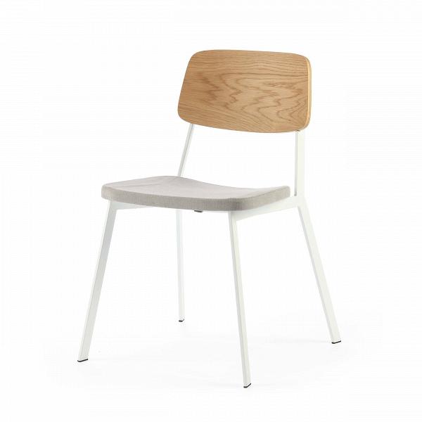 Стул GaugeИнтерьерные<br>Дизайнерский стул Gauge (Гаудж) стандартной формы на металлическом каркасе с деревянной спинкой и мягким сиденьем от Cosmo (Космо).<br><br>     Стильная мебель — это показатель отличного вкуса и любви ко всему прекрасному. Дизайнерский интерьер — это настоящее искусство, которое привносит в нашу жизнь красоту и разнообразит наш быт. Стул Gauge — это замечательное творение западных дизайнеров, которое гармонично сочетает в себе современный стиль и необыкновенное удобство и функциональность. Это из...<br><br>stock: 13<br>Высота: 80<br>Высота сиденья: 45<br>Ширина: 50,5<br>Глубина: 53<br>Цвет спинки: Дуб<br>Материал спинки: Фанера, шпон дуба<br>Тип материала каркаса: Сталь<br>Материал сидения: Хлопок, Лен<br>Цвет сидения: Светло-серый<br>Тип материала спинки: Дерево<br>Тип материала сидения: Ткань<br>Коллекция ткани: Ray Fabric<br>Цвет каркаса: Белый