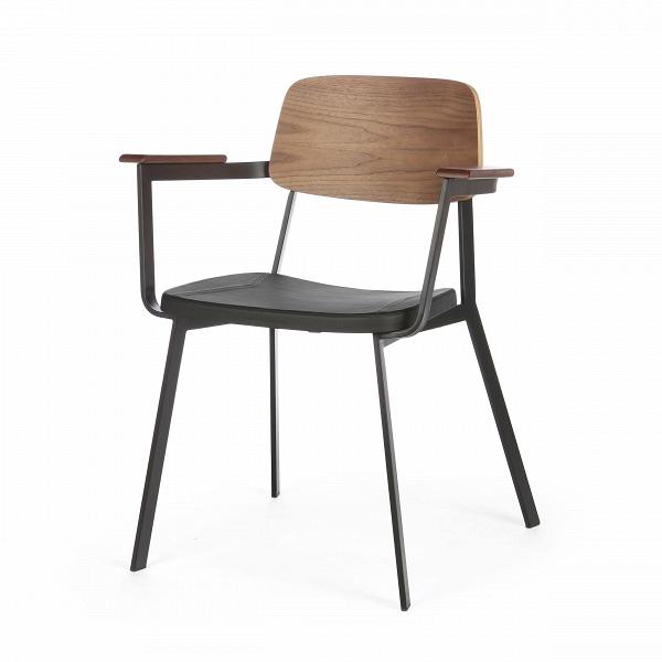 Стул Gauge с подлокотникамиИнтерьерные<br>Дизайнерский легкий стул Gauge (Гаудж) с подлокотниками из металла и дерева с мягким сиденьем от Cosmo (Космо).<br><br> Стул Gauge с подлокотниками — это отличный вариант дизайнерской функциональной мебели для современного типа интерьеров. Стул отличается легкой и простой формой и отсутствием лишних деталей — то что надо, чтобы дополнить интерьер и не перегружать его излишним декором или цветовыми сочетаниями. На выбор предлагаются два цветовых варианта: элегантное сочетание черной кожи и благоро...<br><br>stock: 16<br>Высота: 80<br>Высота сиденья: 45<br>Ширина: 63<br>Глубина: 53<br>Цвет спинки: Орех<br>Материал спинки: Фанера, шпон ореха<br>Тип материала каркаса: Сталь<br>Материал сидения: Полиуретан<br>Цвет сидения: Черный<br>Тип материала спинки: Дерево<br>Тип материала сидения: Кожа искусственная<br>Коллекция ткани: Premium Grade PU<br>Цвет каркаса: Черный