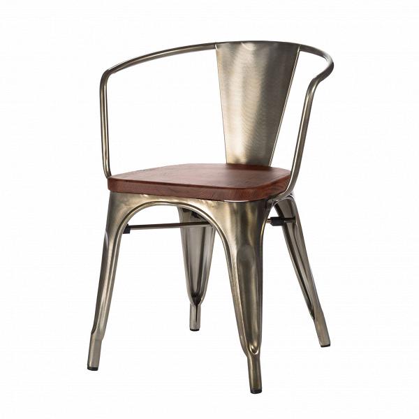 Стул Marais ArmsИнтерьерные<br>Дизайнерский креативный стул Marais Arms (Мэрейс Эрмс) из металла и дерева от Cosmo (Космо)<br><br><br> В далеком 1934 году дизайнер Ксавье Пошар разработал стул Marais из гальванизированного металла.<br><br><br> Монолитная конструкция ножек с арочными сводами укреплена двумя перпендикулярными перемычками. Конструкция из стали, окрашенной в цвет пушечной бронзы, радует глаз гладкостью полировки. Сиденье из натуральной ивы, состаренной искусственным методом, прекрасно гармонирует с бронзовым оттенком ...<br><br>stock: 0<br>Высота: 72<br>Высота сиденья: 45<br>Ширина: 54<br>Глубина: 53<br>Тип материала каркаса: Сталь<br>Материал сидения: Массив ореха<br>Цвет сидения: Орех<br>Тип материала сидения: Дерево<br>Цвет каркаса: Бронза пушечная<br>Дизайнер: Xavier Pauchard
