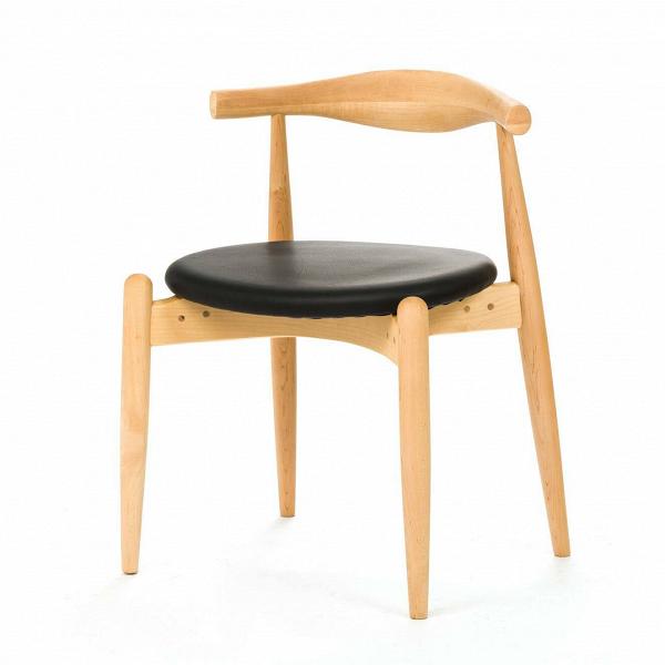 Стул ElbowИнтерьерные<br>Дизайнерский низкий креативный стул Elbow (Элбоу) из дерева с мягкой обивкой сиденья и спинки от Cosmo (Космо).<br><br>     Если вас пугают эксперименты и экстравагантные формы или ваш интерьер выдержан в эстетике минимализма, вВарсенале культового датского дизайнера Ханса Вегнера найдется ряд классических моделей для безупречно элегантной обстановки. Одна из них — стул CH20, или стул Elbow, созданный в 1956 году.<br><br><br>     Этот оригинальный стул — воплощение минимализма: низкая спинка, гори...<br><br>stock: 1<br>Высота: 71,5<br>Высота сиденья: 45<br>Ширина: 55<br>Глубина: 47<br>Материал каркаса: Массив бука<br>Тип материала каркаса: Дерево<br>Цвет сидения: Черный<br>Тип материала сидения: Кожа<br>Коллекция ткани: Standart Leather<br>Цвет каркаса: Светло-коричневый<br>Дизайнер: Hans Wegner