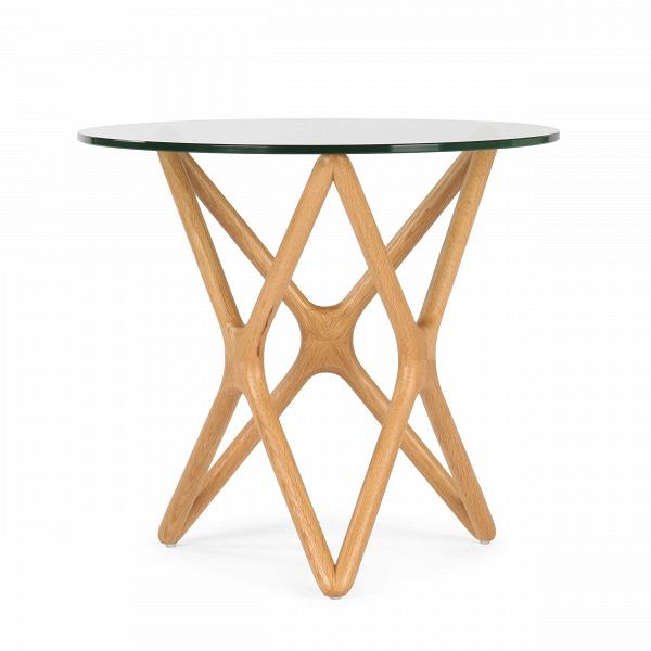 Кофейный стол Triple X высота 51Кофейные столики<br>Дизайнерский креативный кофейный стол Triple X (Трипл Икс) с высотой 51 см с деревянными ножками и стеклянной столешницей от Cosmo (Космо).<br><br>Впечатляющее, привлекательноеВсочетание стекла и дерева собраны в единую и стройную конструкцию, чтобы создать настоящееВпроизведение искусства для вашего интерьера. Прочные ножки из долговечного американского ореха (в другом варианте — из белого дуба) будто оплетают чистое как слеза стекло, превращаясь в поистине прекрасный и не менее функ...<br><br>stock: 0<br>Высота: 51<br>Диаметр: 55<br>Цвет ножек: Светло-коричневый<br>Цвет столешницы: Прозрачный<br>Материал ножек: Массив дуба<br>Тип материала столешницы: Стекло закаленное<br>Тип материала ножек: Дерево<br>Дизайнер: Sean Dix