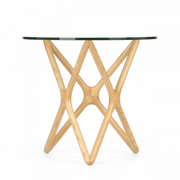 Кофейный стол Triple X высота 51Кофейные столики<br>Дизайнерский креативный кофейный стол Triple X (Трипл Икс) с высотой 51 см с деревянными ножками и стеклянной столешницей от Cosmo (Космо).<br><br>Впечатляющее, привлекательноеВсочетание стекла и дерева собраны в единую и стройную конструкцию, чтобы создать настоящееВпроизведение искусства для вашего интерьера. Прочные ножки из долговечного американского ореха (в другом варианте — из белого дуба) будто оплетают чистое как слеза стекло, превращаясь в поистине прекрасный и не менее функ...<br><br>stock: 1<br>Высота: 51<br>Диаметр: 55<br>Цвет ножек: Светло-коричневый<br>Цвет столешницы: Прозрачный<br>Материал ножек: Массив ясеня<br>Тип материала столешницы: Стекло закаленное<br>Тип материала ножек: Дерево<br>Дизайнер: Sean Dix