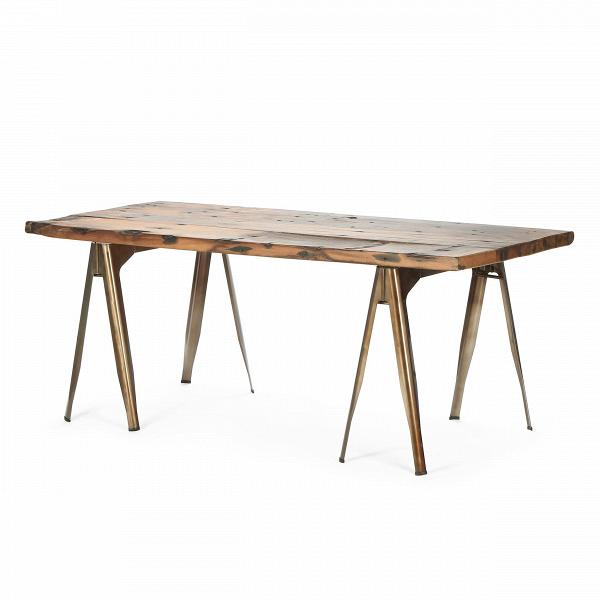 Обеденный стол Daphne OldwoodОбеденные<br>Дизайнерская состаренный винтажный обеденный стол Daphne Oldwood со столешницей из дерева на металлических ножках от Cosmo (Космо).<br> Стол Daphne Oldwood — это гармоничное сочетание натурального дерева и металла. Если обстановка вашего дома тяготеет к практичности индустриального стиля и вам чужд сверкающий глянец, то такой стол придется вам по вкусу.<br><br><br>         Для изготовления массивных раздвоенных ножек используется сталь, окрашенная в черный, серый или цвет красной ржавчины. Каждая дво...<br><br>stock: 2<br>Высота: 74,5<br>Ширина: 190<br>Диаметр: 90<br>Цвет ножек: Бронза пушечная<br>Цвет столешницы: Антикварный<br>Материал столешницы: Массив ивы<br>Тип материала столешницы: Дерево<br>Тип материала ножек: Сталь<br>Дизайнер: Xavier Pauchard