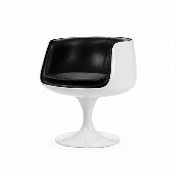 Кресло CognacИнтерьерные<br>Дизайнерское современное кресло-чаша Cognac (Коньяк) на одной ножке с круглым основанием от Cosmo (Космо).<br><br><br> Основной концепцией стиля Ээро Сааринена, который создал кресло Cognac, было подражание эстетике природных форм и продуманная отточенность каждого элемента. В 1969 году использование пластика в мебельной промышленности было новаторским, что позволило Сааринену открыть много возможностей в плане эргономики и формообразования. Его кресло отличалось от большинства мебельных образцо...<br><br>stock: 0<br>Высота: 69<br>Высота сиденья: 47<br>Ширина: 66<br>Глубина: 64<br>Тип материала каркаса: Стекловолокно<br>Коллекция ткани: Deluxe<br>Тип материала обивки: Кожа<br>Цвет обивки: Черный<br>Цвет каркаса: Белый глянец<br>Дизайнер: Eero Saarinen