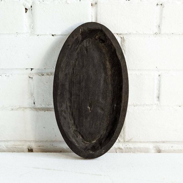 Тарелка Яйцо темнаяПосуда<br><br><br>stock: 2<br>Высота: 3<br>Ширина: 27<br>Материал: Дуб массив<br>Цвет: Черный