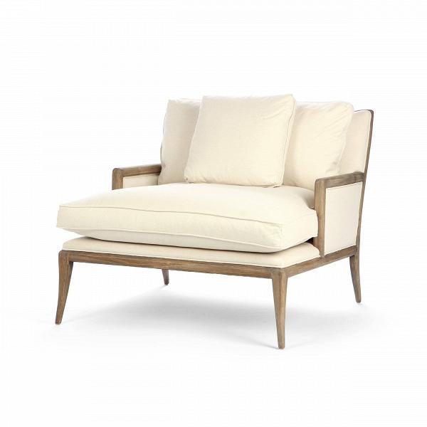 Кресло Florence ModernИнтерьерные<br>Дизайнерское широкое светлое кресло Florence Modern (Флоренс Модерн) с деревянными подлокотниками и ножками от Cosmo (Космо).<br><br><br> Кресло Florence Modern разработано ведущими дизайнерами компании Cosmo. Это кресло буквально создано для великолепного отдыха после трудового дня или во время семейных посиделок в любимой гостиной комнате. Кресло имеет несколько подушек, которые порадуют вас своей мягкостью и удобством. Кроме того, кресло довольно широкое, что позволяет разместиться в нем так, ...<br><br>stock: 2<br>Высота: 89<br>Высота сиденья: 57<br>Ширина: 103<br>Глубина: 119.5<br>Цвет ножек: Коричневый<br>Материал ножек: Состаренный массив дуба<br>Материал обивки: Хлопок, Лен<br>Тип материала обивки: Ткань<br>Тип материала ножек: Дерево<br>Цвет обивки: Светло-бежевый
