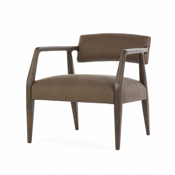 Кресло BaileyИнтерьерные<br>Дизайнерское оригинальное легкое широкое кресло Bailey из дерева с тканевой обивкой от Cosmo.<br><br><br> Четкость линий, строгость цвета и абсолютно современный дизайн — кресло Bailey станет замечательным атрибутом комнаты, выполненной практически в любом стиле. Главная особенность кресла — это его широкое комфортное сиденье, благодаря которому вы сможете устроиться с максимальным удобством как за рабочим столом, так и в любимой гостиной комнате. Компания Cosmo предлагает на выбор два цвета: те...<br><br>stock: 10<br>Высота: 69<br>Высота сиденья: 43<br>Ширина: 65<br>Глубина: 67<br>Цвет ножек: Темно-коричневый<br>Материал ножек: Состаренный массив дуба<br>Тип материала обивки: Кожа<br>Тип материала ножек: Дерево<br>Цвет обивки: Серый