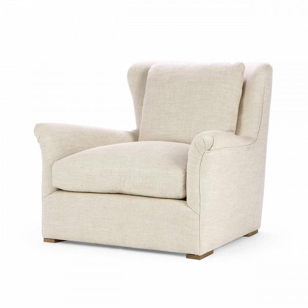 Кресло Wing BackИнтерьерные<br>Дизайнерское классическое мягкое удобное кресло Wing Back (Винг Бэк) от Cosmo (Космо).<br><br><br> Кресло Wing Back — это настоящая находка для тех, кто любит комфорт и уютное домашнее тепло. Дизайнеры компании Cosmo сделали сиденье кресла довольно больших размеров, чтобы отдых в нем был наиболее удобен и приятен. Несмотря на его необычный дизайн, кресло весьма универсально по стилю, что позволяет использовать его практически в любом интерьере. На выбор предлагается два цветовых варианта: бежевый...<br><br>stock: 3<br>Высота: 92<br>Ширина: 106<br>Глубина: 117<br>Цвет ножек: Коричневый<br>Материал ножек: Массив дуба<br>Материал обивки: Полиэстер, Вискоза, Хлопок<br>Тип материала обивки: Ткань<br>Тип материала ножек: Дерево<br>Цвет обивки: Бежевый