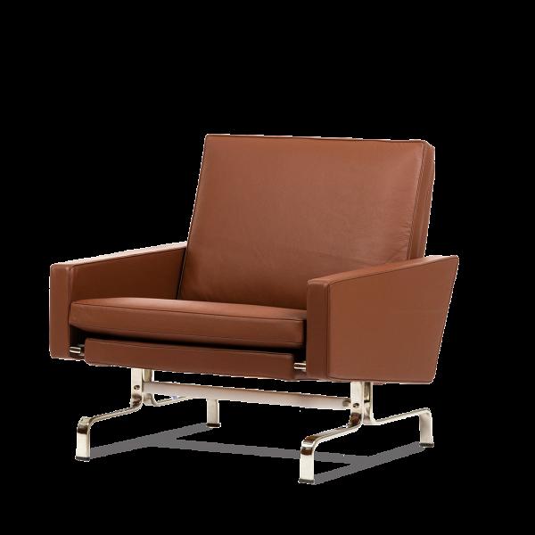 Кресло PK31Интерьерные<br>Дизайнерское широкое кресло PK31 (ПК31) на стальных ножках от Cosmo (Космо).<br><br><br><br> Ансамбль изВдивана иВкресла PK31В— главный пример способности Поуля Кьерхольма создавать мебель, которая может быть интегрирована вВинтерьер, неВутрачивая при этом собственного лица. PK31В— это отдельный автономный объект: продукт, созданный Поулем вВпоисках идеальной формы. «ЯВпытаюсь дать материалам возможность выразить самих себя»,В— говорил Кьерхольм.<br><br><br><br>...<br><br>stock: 1<br>Высота: 74,5<br>Высота сиденья: 38,5<br>Ширина: 77<br>Глубина: 77<br>Цвет ножек: Хром<br>Коллекция ткани: Deluxe<br>Тип материала обивки: Кожа<br>Тип материала ножек: Сталь нержавеющая<br>Цвет обивки: Коричневый<br>Дизайнер: Poul KjГ¦rholm