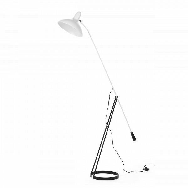 Напольный светильник FlorisНапольные<br>Напольный светильник Floris был создан голландским дизайнером по имени Флорис Фиделдей для компании Aritmeta в середине двадцатого века. Сегодня компания Cosmo представляет вам копию этого известного осветительного прибора в стиле модерн.<br><br><br> Флорис Фиделдей создала этот напольный светильник под влиянием природы. Особенно сильным вдохновением послужили маленькие и хрупкие насекомые. Тонкие лапки и вытянутые тельца насекомых воплощены в узенькой длинной ножке и невесомой опоре светильник...<br><br>stock: 0<br>Высота: 167<br>Ширина: 28<br>Длина: 142<br>Количество ламп: 1<br>Материал абажура: Алюминий<br>Материал арматуры: Сталь<br>Мощность лампы: 60<br>Ламп в комплекте: Нет<br>Напряжение: 220-240<br>Тип лампы/цоколь: E27<br>Цвет абажура: Белый<br>Цвет арматуры: Черный<br>Цвет провода: Черный