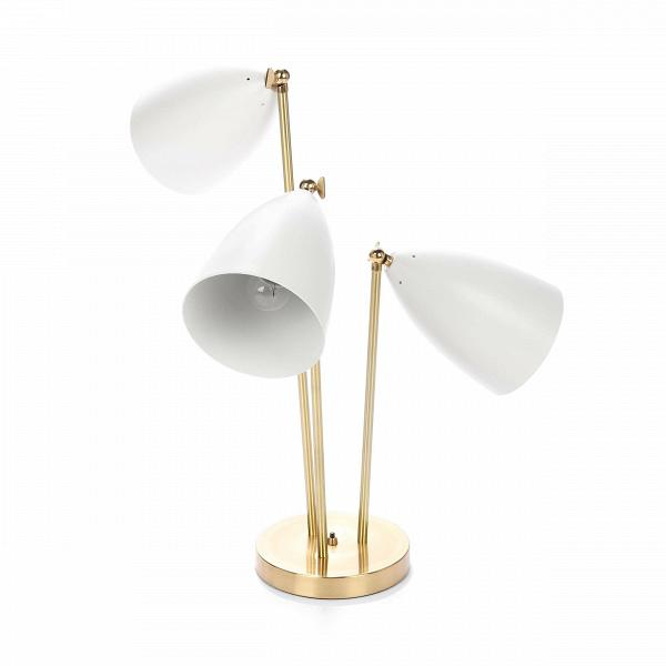 Настольный светильник Three-ArmedНастольные<br>Дизайнерский настольный светильник Three-Armed (Три-Армед) в стиле модерн с тремя цветными абажурами от Cosmo.<br><br><br> Настольный светильник Three-Armed — это воспроизведение уникальной работы промышленного дизайнера Греты Магнуссон Гроссман. Он был создан в пятидесятых годах XX века и с тех пор не теряет популярности. Грета Гроссман сформировала эстетику «калифорнийского модернизма». Сама она находилась под большим влиянием европейского модернизма. Компания Cosmo с гордостью представляет вам...<br><br>stock: 2<br>Высота: 76<br>Ширина: 50<br>Диаметр: 20<br>Количество ламп: 3<br>Материал абажура: Алюминий<br>Материал арматуры: Металл<br>Мощность лампы: 60<br>Ламп в комплекте: Нет<br>Напряжение: 220-240<br>Тип лампы/цоколь: E27<br>Цвет абажура: Белый<br>Цвет арматуры: Латунь<br>Цвет провода: Черный<br>Дизайнер: Greta Grossmann
