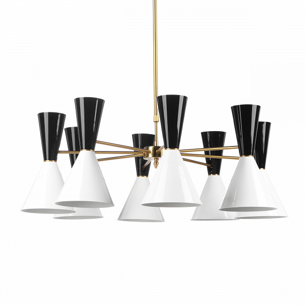 Потолочный светильник Stilnovo Style 8 лампПотолочные<br>Потолочный светильник Stilnovo Style 8 ламп — это яркий и веселый светильник американской компании Stilnovo, которая воспроизводит лампы самых известных дизайнеров XX века и создает новые необычные осветительные приборы.<br><br><br> Этот светильник отличается своим цветовым исполнением. Восемь абажуров, выкрашенных в самые яркие и сочные цвета, обязательно будут поднимать вам настроение в холодный зимний день или дождливую пасмурную осеннюю погоду. Ослепительные белые лучи солнца или насыщенный...<br><br>stock: 4<br>Высота: 36<br>Диаметр: 100<br>Длина провода: 60-100<br>Доп. цвет абажура: Белый<br>Количество ламп: 8<br>Материал абажура: Сталь<br>Материал арматуры: Сталь<br>Мощность лампы: 60<br>Ламп в комплекте: Нет<br>Напряжение: 220-240<br>Тип лампы/цоколь: E27<br>Цвет абажура: Черный<br>Цвет арматуры: Латунь<br>Цвет провода: Черный