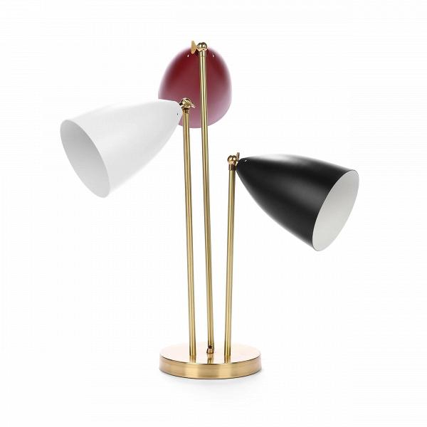 Настольный светильник Three-ArmedНастольные<br>Дизайнерский настольный светильник Three-Armed (Три-Армед) в стиле модерн с тремя цветными абажурами от Cosmo.<br><br><br> Настольный светильник Three-Armed — это воспроизведение уникальной работы промышленного дизайнера Греты Магнуссон Гроссман. Он был создан в пятидесятых годах XX века и с тех пор не теряет популярности. Грета Гроссман сформировала эстетику «калифорнийского модернизма». Сама она находилась под большим влиянием европейского модернизма. Компания Cosmo с гордостью представляет вам...<br><br>stock: 3<br>Высота: 76<br>Ширина: 50<br>Диаметр: 20<br>Количество ламп: 3<br>Материал абажура: Алюминий<br>Материал арматуры: Металл<br>Мощность лампы: 60<br>Ламп в комплекте: Нет<br>Напряжение: 220-240<br>Тип лампы/цоколь: E27<br>Цвет абажура: Разноцветный<br>Цвет арматуры: Латунь<br>Цвет провода: Черный<br>Дизайнер: Greta Grossmann