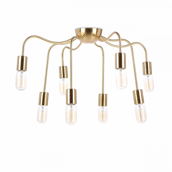 Потолочный светильник Josef Frank StyleПотолочные<br>Потолочный светильник Josef Frank Style — это яркий и необычный светильник, его вам предлагает компания Cosmo. Он выполнен на основе моделей известного промышленного дизайнера Йозефа Франка. Его концепция модернизма уникальна: в отличие от Ле Корбюзье и многих других творцов того времени Йозеф Франк придерживался мнения, что дом не только «машина для жилья», а место для уюта, легкости и тепла. Комната должна жить вместе с обитателями, поэтому все в ней должно быть легким и невесомым. Вмест...<br><br>stock: 15<br>Высота: 40<br>Диаметр: 62<br>Длина провода: 42<br>Количество ламп: 8<br>Материал абажура: Латунь<br>Материал арматуры: Металл<br>Мощность лампы: 60<br>Ламп в комплекте: Нет<br>Напряжение: 220-240<br>Тип лампы/цоколь: E27<br>Цвет арматуры: Латунь матовая<br>Цвет провода: Белый и черный