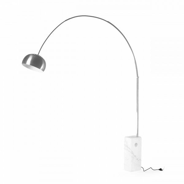 Напольный светильник Arco 2Напольные<br>Классический дизайн напольного светильника Arco 2 — наилучший вариант для интерьера любой жилой комнаты или производственного помещения. Уникальный дизайн в сочетании с качественным исполнением делают его образцомВсветильника, подходящим для любого современного дома.<br> <br> Благодаря высоте штатива, на котором держится источник света, изделие подходитВдля чтения на диване или в кресле. Свет также можно направлять и опускать на любую высоту. Основание лампы сделано из цельного куска мр...<br><br>stock: 2<br>Высота: 240<br>Ширина: 24<br>Длина: 200<br>Количество ламп: 1<br>Материал абажура: Металл<br>Материал арматуры: Мрамор<br>Мощность лампы: 60<br>Ламп в комплекте: Нет<br>Напряжение: 220-240<br>Тип лампы/цоколь: E27<br>Цвет абажура: Серебряный<br>Цвет арматуры: Белый<br>Цвет провода: Черный<br>Дизайнер: Achille Castiglioni