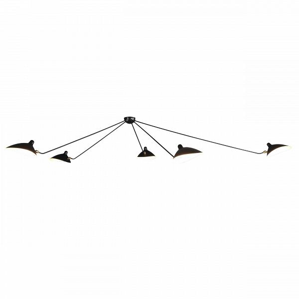 Потолочный светильник Spider 5 лампПотолочные<br>Потолочный светильник Spider 5 ламп — это большая модель потолочного светильника, созданного в 1953 году французским промышленным дизайнером Сержем Муем.<br><br><br> Серж Муй — один из самых известных и титулованных дизайнеров своего времени. Спустя два года после создания этого светильника он стал членом Общества художников и Французского национального художественного общества, завоевал множество наград, а сейчас его работы выставляются в галерее Стефа Симона в Париже. Коллекция, к которой при...<br><br>stock: 0<br>Высота: 85<br>Длина: 258<br>Количество ламп: 5<br>Материал абажура: Металл<br>Материал арматуры: Сталь<br>Мощность лампы: 40<br>Ламп в комплекте: Нет<br>Напряжение: 220-240<br>Тип лампы/цоколь: E14<br>Цвет абажура: Черный<br>Цвет арматуры: Черный<br>Дизайнер: Serge Mouille