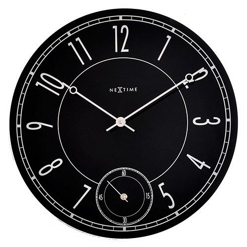 Настенные часы LEITBRING (8144)Часы<br>Артикул: 8144. Черные стеклянные часы с оригинальным циферблатом – сочетание классики и модерна. Этот предмет интерьера напоминает увеличенную копию дорогих швейцарских часов, украшенных тонкими изящными стрелочками и снабженных практичным секундомером. Дизайн: Nextime, Нидерланды.<br><br>stock: 43<br>Материал: стекло, зеркало<br>Цвет: Черный<br>Размер: None<br>Диаметр: 43<br>Страна происхождения: Нидерланды