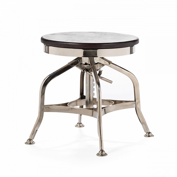 Табурет ToledoТабуреты<br>В конце XIX века в Америке двое братьев открыли мастерскую по ремонту велосипедов. Спустя несколько лет количество братьев, принимающих участие в проекте, увеличилось до десяти, семейное дело давало приличный доход, и было принято решение производить предметы мебели: столы и стулья из стали. К 1910 году они приобрели завод, и появилась Uhl Art Steel Company, подарившая миру знаменитую мебель «Толедо».<br><br><br> Круглое вращающееся сиденье сделано из обработанного натурального дерева изумител...<br><br>stock: 5<br>Высота: 40-51<br>Диаметр: 39<br>Тип материала каркаса: Сталь<br>Материал сидения: Массив ивы<br>Цвет сидения: Темно-коричневый<br>Тип материала сидения: Дерево<br>Цвет каркаса: Никель