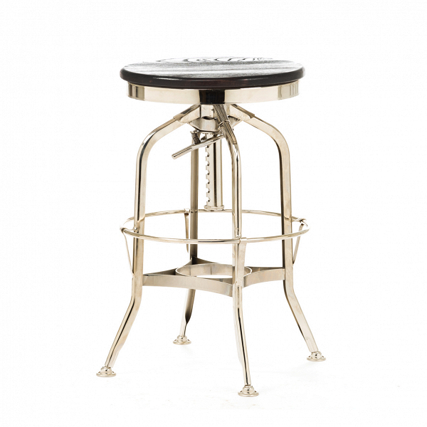 Барный стул Toledo Rondeau без спинкиБарные<br>Дизайнерский  металлический барный стул Toledo Rondeau (Толедо Рондо) без спинки с деревянным сиденьем от Cosmo (Космо).<br><br> Удобный и легкий барный стул Toledo Rondeau без спинки подходит для тех, кто ценит естественный симбиоз эстетичного дизайна и высокого качества. Сочетание стали и дерева выгоднее всего будет смотреться с кирпичной кладкой лофта или в сочетании с деревянными панелями, также эта модель будет органична в интерьерах эко или индустриального стиля.<br><br><br> Изначально стул был...<br><br>stock: 12<br>Высота: 62-73<br>Диаметр: 42<br>Тип материала каркаса: Сталь<br>Материал сидения: Массив ивы<br>Цвет сидения: Темно-коричневый<br>Тип материала сидения: Дерево<br>Цвет каркаса: Никель