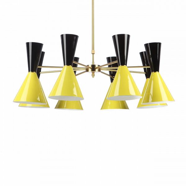 Потолочный светильник Stilnovo Style 8 лампПотолочные<br>Потолочный светильник Stilnovo Style 8 ламп — это яркий и веселый светильник американской компании Stilnovo, которая воспроизводит лампы самых известных дизайнеров XX века и создает новые необычные осветительные приборы.<br><br><br> Этот светильник отличается своим цветовым исполнением. Восемь абажуров, выкрашенных в самые яркие и сочные цвета, обязательно будут поднимать вам настроение в холодный зимний день или дождливую пасмурную осеннюю погоду. Ослепительные белые лучи солнца или насыщенный...<br><br>stock: 0<br>Высота: 36<br>Диаметр: 100<br>Длина провода: 60-100<br>Доп. цвет абажура: Желтый<br>Количество ламп: 8<br>Материал абажура: Сталь<br>Материал арматуры: Сталь<br>Мощность лампы: 60<br>Ламп в комплекте: Нет<br>Напряжение: 220-240<br>Тип лампы/цоколь: E27<br>Цвет абажура: Черный<br>Цвет арматуры: Латунь<br>Цвет провода: Черный