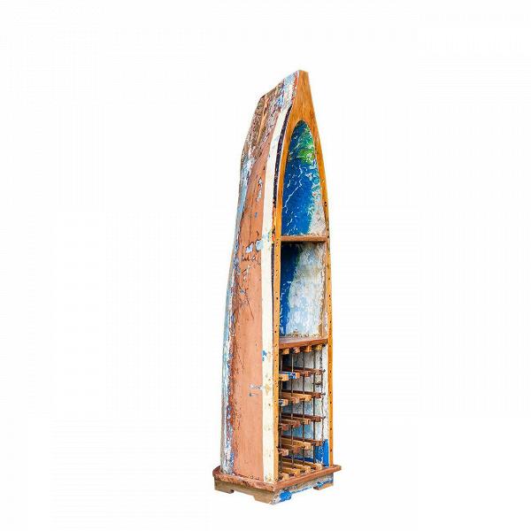 Стеллаж-лодка для вина ЛаперузСтеллажи<br>Стеллаж-лодка для вина Лаперуз — это винный шкаф, выполненный из старой рыбацкой лодки классической правильной формы с сохранением оригинальной многослойной окраски. Возраст лодки 15–35 лет. Предположительное место обитания – остров Ява (Центральная Индонезия). Лодка изготовлена из массива дерева по традиционной народной технике дагаут (dugout), что означает «лодка, выдолбленная из ствола дерева».<br> <br> Стеллаж-лодка для вина Лаперуз изготовлен из ценных твердых пород древесины (тик, махагон, ...<br><br>stock: 0<br>Высота: 222<br>Ширина: 51<br>Глубина: 58<br>Материал каркаса: Тик<br>Цвет каркаса: Коричневый