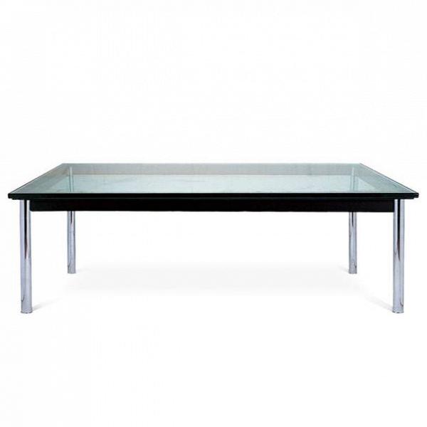 Кофейный стол LC10Кофейные столики<br>Дизайнерский широкий кофейный стол LC10 (ЛС10) с прозрачной столешницой от Cosmo (Космо).<br><br> Низкий оригинальный кофейный стол LC10 от Ле Корбюзье подчеркнет облик любого пространства иВстанет идеальным дополнением интерьеров, оформленных вВсовершенно разных стилях.<br><br><br> Столешница изВ15-миллиметрового закаленного стекла иВподстолье изВпрочной сталиВ— классический вариант журнального стола, который подойдет для гостиной, для комнат отдыха вВофисных центр...<br><br>stock: 0<br>Высота: 33,5<br>Ширина: 120<br>Диаметр: 80<br>Цвет ножек: Хром<br>Цвет столешницы: Прозрачный<br>Тип материала столешницы: Стекло закаленное<br>Тип материала ножек: Сталь нержавеющая<br>Дизайнер: Le Corbusier