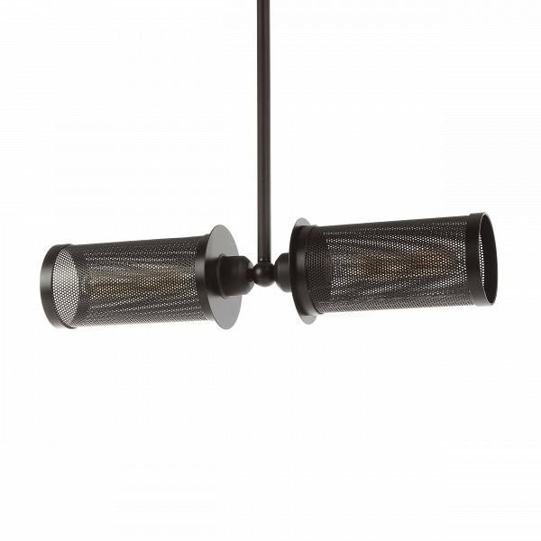 Подвесной светильник LehniПодвесные<br>Подвесной светильник Lehni — это оригинальное творение лучших дизайнеров компании Cosmo, которые предусмотрели возможность его использования как в домашнем интерьере, так и в общественных помещениях. Светильник имеет две лампочки, направленные в противоположные стороны, благодаря чему достигается эффект наибольшего освещения. Светильник оформлен в черном цвете. Оригинальный абажур подвесного светильника Lehni изготовлен из прочного металла. Абажур крепится к широкому металлическому стержню...<br><br>stock: 25<br>Высота: 70<br>Ширина: 55<br>Диаметр: 10<br>Количество ламп: 2<br>Материал абажура: Металл<br>Мощность лампы: 60<br>Ламп в комплекте: Нет<br>Тип лампы/цоколь: E27<br>Цвет абажура: Черный<br>Цвет провода: Черный