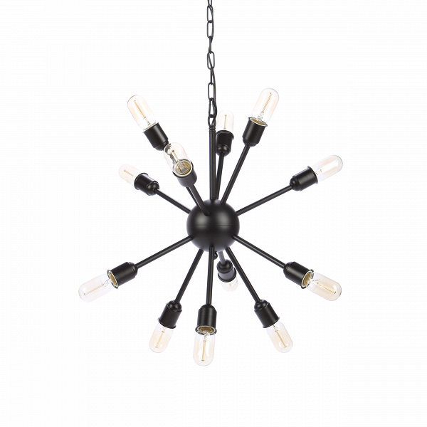 Подвесной светильник Molecule Lighting 12 лампПодвесные<br>Интересное оригинальное оформление помещения осветительными приборами — один из самых необходимых пунктов создания современного интерьера. Подвесной светильник Molecule Lighting 12 ламп создан лучшими дизайнерами компании Cosmo и, как ясно из его названия, напоминает собой своеобразную молекулу некоего химического вещества. Вся конструкция оригинального подвесного светильника Molecule Lighting 12 ламп изготовлена из металла черного цвета. Светильник имеет 12 цоколей для лампочек.<br><br><br> С...<br><br>stock: 30<br>Высота: 41<br>Ширина: 68<br>Длина: 54<br>Длина провода: 150<br>Количество ламп: 12<br>Материал абажура: Металл<br>Мощность лампы: 60<br>Ламп в комплекте: Нет<br>Тип лампы/цоколь: E27<br>Цвет абажура: Черный<br>Цвет провода: Черный