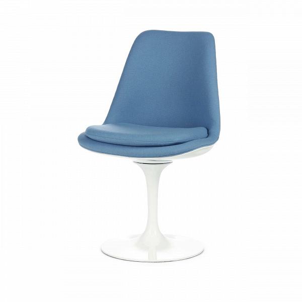 Стул Tulip с обитой спинкойИнтерьерные<br>Дизайнерский тканевый стул Tulip (Тьюлип) с обитой спинкой и с каркасом из стекловолокна от Cosmo (Космо).<br><br><br> Стул Tulip — это один из самых знаменитых предметов мебели, он был разработан в 1958 году Ээро Саариненом. Поистине футуристический дизайн и классика модерна. Первый в мире одноногий стул изменил будущее дизайна мебели. Формой стул напоминает бокал или, как видно из названия, — тюльпан. Уникальное основание постамента обеспечивает устойчивость и выглядит эстетически привлекательным...<br><br>stock: 0<br>Высота: 82,5<br>Высота сиденья: 47<br>Ширина: 50,5<br>Глубина: 54,5<br>Тип материала каркаса: Стекловолокно<br>Материал сидения: Шерсть, Нейлон<br>Цвет сидения: Голубой<br>Тип материала сидения: Ткань<br>Коллекция ткани: T Fabric<br>Цвет каркаса: Белый глянец<br>Дизайнер: Eero Saarinen