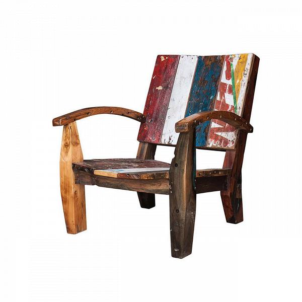 Кресло НьютонИнтерьерные<br>Дизайнерское разноцветное кресло Ньютон на высоких ножках из массива тика от Like Lodka (Лайк Лодка).<br> <br>Кресло Ньютон выполнено из массива древесины старого рыбацкого судна, такой как тик, махагон, суар, с сохранением оригинальной многослойной окраски. Древесина обладает высокой износостойкостью, долговечностью и водоотталкивающими свойствами. Ее использовали индонезийские рыбаки для создания лодок, а мебель из нее подходит для использования как внутри помещения, так и снаружи. Покрыт нат...<br><br>stock: 0<br>Высота: 85<br>Ширина: 80<br>Глубина: 85<br>Материал каркаса: Массив тика<br>Тип материала каркаса: Дерево<br>Цвет каркаса: Разноцветный