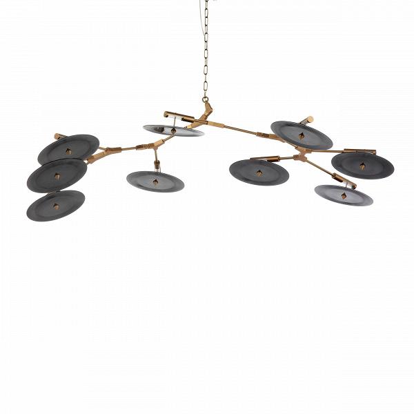 Подвесной светильник Branching Discs 9 лампПодвесные<br>Популярнейший американский дизайнер Линдси Адельман, известная своим особенным почерком в создании предметов освещения, создала необычайно интересное и красивое изделие — подвесной светильник Branching Discs 9 ламп, который способен легко вписаться в любой интерьер, оформленный в современном стиле. Правильный источник освещения необычайно важен для положительного восприятия всей обстановки комнаты, и Branching Discs — это отличное решение для гармоничного освещения любого типа помещений.<br>...<br><br>stock: 4<br>Высота: 200<br>Ширина: 95<br>Длина: 190<br>Количество ламп: 9<br>Материал абажура: Акрил<br>Материал арматуры: Сталь<br>Мощность лампы: 3<br>Ламп в комплекте: Нет<br>Напряжение: 220<br>Тип лампы/цоколь: LED<br>Цвет абажура: Черный<br>Цвет арматуры: Золотой<br>Дизайнер: Lindsey Adams Adelman