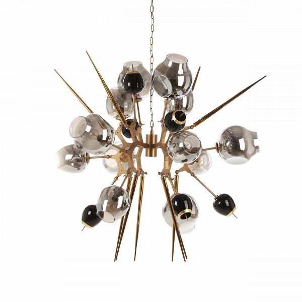 Подвесной светильник Galaxy 12 лампПодвесные<br>Подвесной светильник Galaxy 12 ламп — это еще одно творение замечательного дизайнера, чьи работы отличаются особенной свежестью и оригинальностью сочетания природных и индустриальных форм. Линдси Адельман не только создала необычайно красивый источник освещения, но и снабдила его интересным декором. Светильник будет прекрасно смотреться не только в современных интерьерах, но также при грамотном подходе сможет гармонично вписаться и в более классический дизайн.<br><br><br><br><br> Плафоны светильник...<br><br>stock: 2<br>Высота: 130<br>Ширина: 125<br>Длина: 125<br>Количество ламп: 12<br>Материал абажура: Стекло<br>Материал арматуры: Сталь<br>Мощность лампы: 40<br>Ламп в комплекте: Нет<br>Напряжение: 220<br>Тип лампы/цоколь: E27<br>Цвет абажура: Дымчатый<br>Цвет арматуры: Медь античная матовая<br>Дизайнер: Lindsey Adams Adelman
