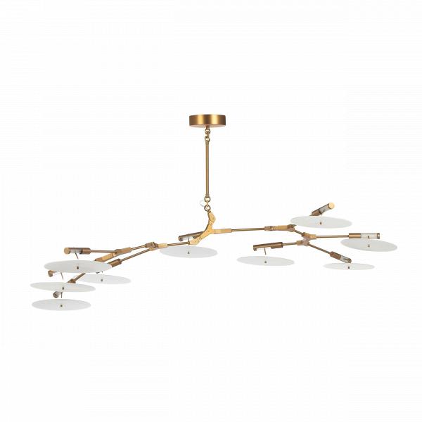 Подвесной светильник Branching Discs 9 лампПодвесные<br>Популярнейший американский дизайнер Линдси Адельман, известная своим особенным почерком в создании предметов освещения, создала необычайно интересное и красивое изделие — подвесной светильник Branching Discs 9 ламп, который способен легко вписаться в любой интерьер, оформленный в современном стиле. Правильный источник освещения необычайно важен для положительного восприятия всей обстановки комнаты, и Branching Discs — это отличное решение для гармоничного освещения любого типа помещений.<br>...<br><br>stock: 0<br>Высота: 200<br>Ширина: 95<br>Длина: 190<br>Количество ламп: 9<br>Материал абажура: Акрил<br>Материал арматуры: Сталь<br>Мощность лампы: 3<br>Ламп в комплекте: Нет<br>Напряжение: 220<br>Тип лампы/цоколь: LED<br>Цвет абажура: Белый<br>Цвет арматуры: Золотой<br>Дизайнер: Lindsey Adams Adelman