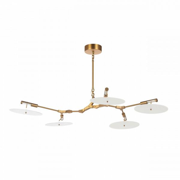 Подвесной светильник Branching Discs 5 лампПодвесные<br>Линдси Адельман, популярный западный дизайнер, прославившаяся благодаря созданным ею осветительным приборам, создала необычайно интересное и красивое изделие — подвесной светильник Branching Discs 5 ламп, который способен легко вписаться в любой интерьер, оформленный в современном стиле. Branching Discs — это отличное решение для гармоничного освещения любого типа помещений.<br><br><br><br><br> Плафоны светильника, напоминающие собой летающие тарелки, изготовлены из прочного акрила, который в соче...<br><br>stock: 0<br>Высота: 30<br>Ширина: 90<br>Длина: 130<br>Количество ламп: 5<br>Материал абажура: Акрил<br>Материал арматуры: Сталь<br>Мощность лампы: 3<br>Ламп в комплекте: Нет<br>Напряжение: 220<br>Тип лампы/цоколь: LED<br>Цвет абажура: Белый<br>Цвет арматуры: Золотой<br>Дизайнер: Lindsey Adams Adelman