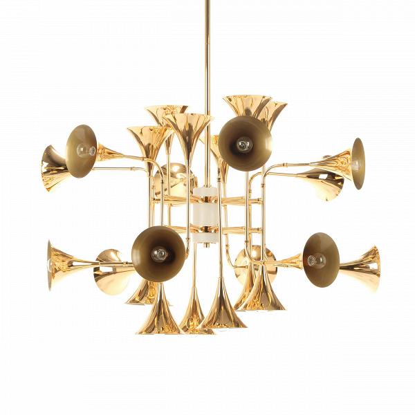 Подвесной светильник Botti 24 лампыПодвесные<br>Подвесной светильник Botti 24 лампы был создан дизайнерами известной фирмы Delightfull, которые придали ему современный стильный вид и легкий оттенок роскоши и изящества. Светильник представляет собой целый «оркестр», состоящий из множества плафонов, напоминающих своеобразные духовые инструменты.<br><br><br> Вся сложная конструкция светильника изготовлена из прочной стали золотого глянцевого цвета, благодаря чему на изделии создается мягкая и красивая игра света.<br><br><br> Обладая довольно внушите...<br><br>stock: 1<br>Высота: 140<br>Диаметр: 108<br>Количество ламп: 24<br>Материал абажура: Сталь<br>Материал арматуры: Сталь<br>Мощность лампы: 40<br>Ламп в комплекте: Нет<br>Напряжение: 220<br>Тип лампы/цоколь: E14<br>Цвет абажура: Золотой<br>Цвет арматуры: Золотой