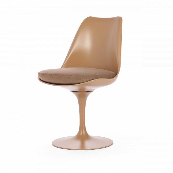 Стул TulipИнтерьерные<br>Дизайнерский стул Tulip (Тьюлип) из стекловолокна на алюминиевой ножке от Cosmo (Космо).<br><br> Стул Tulip — это один из самых знаменитых предметов мебели, он был разработан в 1958 году Ээро Саариненом. Поистине футуристический дизайн и классика модерна. Первый в мире одноногий стул изменил будущее дизайна мебели. Формой стул напоминает бокал или, как видно из названия, — тюльпан. Уникальное основание постамента обеспечивает устойчивость и выглядит эстетически привлекательным. Избавив стул от тр...<br><br>stock: 4<br>Высота: 81<br>Высота сиденья: 46<br>Ширина: 49,5<br>Глубина: 53<br>Цвет ножек: Коричневый матовый<br>Механизмы: Поворотная функция<br>Тип материала каркаса: Стекловолокно<br>Материал сидения: Хлопок, Лен<br>Цвет сидения: Светло-коричневый<br>Тип материала сидения: Ткань<br>Коллекция ткани: Ray Fabric<br>Тип материала ножек: Алюминий<br>Цвет каркаса: Коричневый матовый<br>Дизайнер: Eero Saarinen