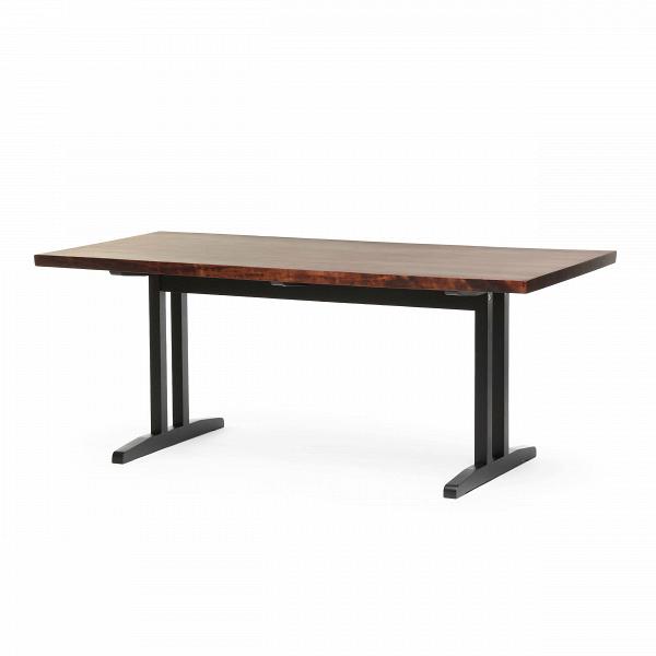 Обеденный стол Kushiro длина 180Обеденные<br>Элегантный и стильный, обеденный стол Kushiro длина 180 будет отличным функциональным украшением любой современной кухни или столовой комнаты. Строгий стиль и четкие, правильные формы стола смотрятся особенно привлекательно в сочетании с темным цветом столешницы и оригинальных ножек.<br><br><br> Столешница стола изготовлена из благородного орехового дерева и обладает неповторимым естественным темным цветом и изящным древесным рисунком. Интересная, устойчивая конструкция ножек выполнена из бука...<br><br>stock: 1<br>Высота: 73<br>Ширина: 90<br>Длина: 180<br>Цвет ножек: Черный<br>Цвет столешницы: Орех американский<br>Материал столешницы: Массив ореха<br>Тип материала столешницы: Дерево<br>Тип материала ножек: Металл