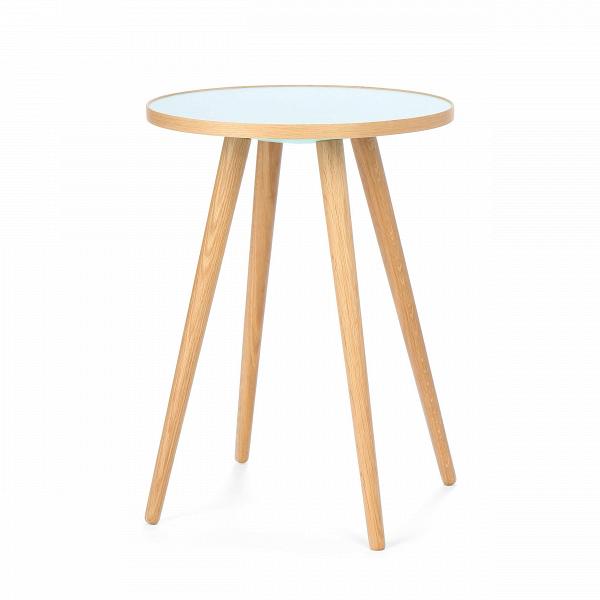 Кофейный стол Sputnik высота 55 диаметр 41Кофейные столики<br>Дизайнерский кофейный стол Sputnik (Спутник) (высота 55 диаметр 41) с пластиковой столешницей на четырех ножках от Cosmo (Космо).<br><br><br> Кофейный стол Sputnik высота 55 диаметр 41 имеет четыре длинные устойчивые ножки и небольшую круглую столешницу. Его разработал американский дизайнер и архитектор мирового уровня Шон Дикс. Столик сделан из качественной древесины американского ореха, что делает его достаточно прочнымВ и долговечным. СтолешницаВ покрыта меламином, благодаря чему уст...<br><br>stock: 2<br>Высота: 55<br>Диаметр: 40,6<br>Цвет ножек: Светло-коричневый<br>Цвет столешницы: Голубой<br>Материал ножек: Массив дуба<br>Тип материала столешницы: Пластик<br>Тип материала ножек: Дерево<br>Дизайнер: Sean Dix