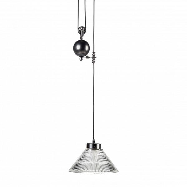 Подвесной светильник Pulley GlassconeПодвесные<br>Когда-то в старинных светильниках лебедка была вещью необходимой, иначе как по-другому было поднять наверх тяжелые свечи, которые использовались в люстрах? С изобретением электричества подъемные механизмы не ушли в небытие, а перепрофилировались — с их помощью стали чистить сложные хрустальные конструкции люстр, канделябров и светильников. Ну а в нашу эру высоких технологий лебедка не столько практичная вещь, которая поддерживает люстру и помогает регулировать ее высоту, но главным образо...<br><br>stock: 5<br>Высота: 20<br>Диаметр: 25<br>Количество ламп: 1<br>Материал абажура: Стекло<br>Материал арматуры: Сталь<br>Ламп в комплекте: Нет<br>Напряжение: 220<br>Тип лампы/цоколь: E27<br>Цвет абажура: Прозрачный