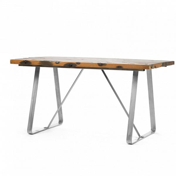 Обеденный стол SussexОбеденные<br>Дизайнерская прямоугольный обеденный стол Sussex (Суссекс) на металлических хромированных ножках со столешницей из состаренного дерева от Cosmo (Космо).<br> Стол Sussex — это сочетание простоты и неожиданных решений. Обаяние искусственно состаренного дерева, из которого изготовлена столешница, порадует ценителей натуральных материалов. Деревянный массив покрыт трещинами, ямками и рытвинами, а искусно затемненные участки гармонично выделяются на фоне естественного коричневого цвета. Необычная фо...<br><br>stock: 1<br>Высота: 74<br>Ширина: 75<br>Длина: 145<br>Цвет ножек: Хром<br>Цвет столешницы: Коричневый<br>Тип материала столешницы: Дерево<br>Тип материала ножек: Сталь<br>Дизайнер: Robin Day