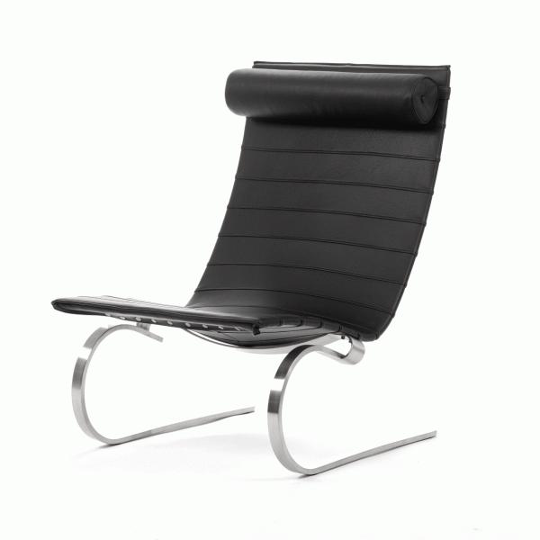 Кресло PK20Интерьерные<br>Дизайнерское черное легкое кожаное кресло PK20 (ПК20) с металлическими ножками от Cosmo (Космо).<br><br><br> Стильное и оригинальное кресло PK20 — продукт творчества датского дизайнера прошлого века Поуля Кьерхольма. Изящное иВэлегантное, оно воплощает вВсебе результат поиска идеальной формы приверженца минимализма Поуля Кьерхольма — комбинация стали и кожи вВисключительном минималистичном дизайне. Данный предмет мебели подойдет к самым разнообразным стилям и интерьерам, оно отлич...<br><br>stock: 2<br>Высота: 89,5<br>Высота сиденья: 41<br>Ширина: 65<br>Глубина: 86,5<br>Цвет ножек: Хром<br>Коллекция ткани: Deluxe<br>Тип материала обивки: Кожа<br>Тип материала ножек: Сталь нержавеющая<br>Цвет обивки: Черный<br>Дизайнер: Poul KjГ¦rholm