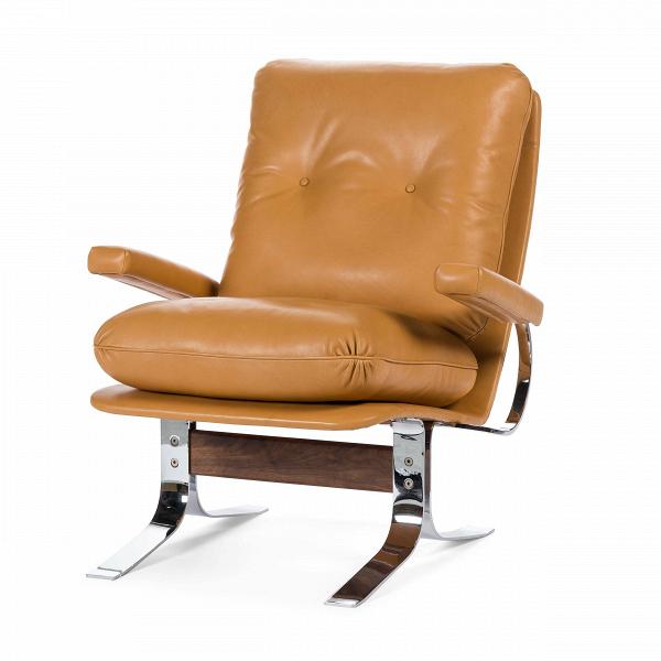 Кресло RalaxИнтерьерные<br>Дизайнерское кожаное удобное кресло Ralax (Рэлекс) на высоких металлических ножках от Cosmo (Космо).<br><br><br> Кресло Ralax — это великолепный офисный вариант или же отличное кресло для вашего домашнего кабинета. Оно изготовлено с учетом не только дизайнерских пожеланий, но также и для максимального удобства и расслабления, которое необходимо для того, чтобы отдохнуть после утомительного дня на работе. <br><br><br> Кресло выполнено в классическом стиле, однако с неотъемлемыми на сегодняшний день нот...<br><br>stock: 2<br>Высота: 81,5<br>Высота сиденья: 44,5<br>Ширина: 75,5<br>Глубина: 89<br>Цвет ножек: Хром<br>Материал каркаса: Массив ореха<br>Тип материала каркаса: Дерево<br>Коллекция ткани: Premium Leather<br>Тип материала обивки: Кожа<br>Тип материала ножек: Сталь нержавеющая<br>Цвет обивки: Коричневый<br>Цвет каркаса: Орех американский