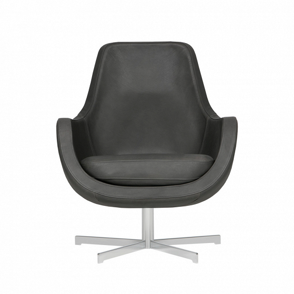Кресло Stefani вращающееся кожаноеИнтерьерные<br>Нильс Гаммельгард — выдающийся датский дизайнер, сумевший найти свою нишу. Образованный и талантливый дизайнер вот уже 45 радует взыскательных любителей красивого интерьера. Как художнику ему удается создавать настоящие произведения искусства. Каждая его работа, предмет мебели, — это красивый и лаконичный дизайн,Видеально подходящий для интерьера в скандинавском стиле.<br> <br> Один из его совершенных продуктовВ— кресло Stefani вращающееся кожаное. Эта <br>выполненная в коже модель прекра...<br><br>stock: 0<br>Высота: 87<br>Высота сиденья: 41<br>Ширина: 73<br>Глубина: 75<br>Цвет ножек: Серебро<br>Степень комфортности: Стандарт комфорт<br>Форма подлокотников: Стандарт<br>Коллекция ткани: Aniline Leather<br>Тип материала обивки: Кожа анилиновая<br>Тип материала ножек: Сталь<br>Цвет обивки: Темно-серый