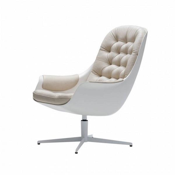 Кресло Blackbird кожаноеИнтерьерные<br>Роскошное дизайнерское кресло Blackbird кожаное способно понравиться даже самому придирчивому покупателю. Кресло не просто так обладает внушительными габаритами — оно очень глубокое, оснащено высокой комфортной спинкой и не менее комфортными сплошными подлокотниками. Кресло имеет легкий наклон, благодаря чему оно способствует расслаблению и позволяет вам насладиться полноценным отдыхом. Обивка украшена каретной стяжкой, что будет особенно стильно смотреться не только в классическом интерь...<br><br>stock: 0<br>Высота: 93<br>Высота сиденья: 42<br>Ширина: 66<br>Глубина: 88<br>Цвет ножек: Белый<br>Механизмы: Поворотная функция<br>Тип материала каркаса: Стеклопластик<br>Коллекция ткани: Aniline Leather<br>Тип материала обивки: Кожа анилиновая<br>Тип материала ножек: Сталь<br>Цвет обивки: Бежевый<br>Цвет каркаса: Белый